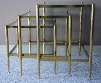 Maison Jansen Brass & Glass Nesting Tables - Julesmoderne.com