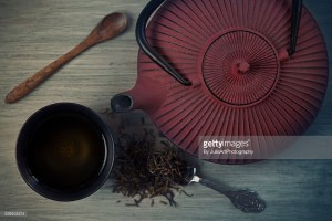 teapot and cup of tea stock image