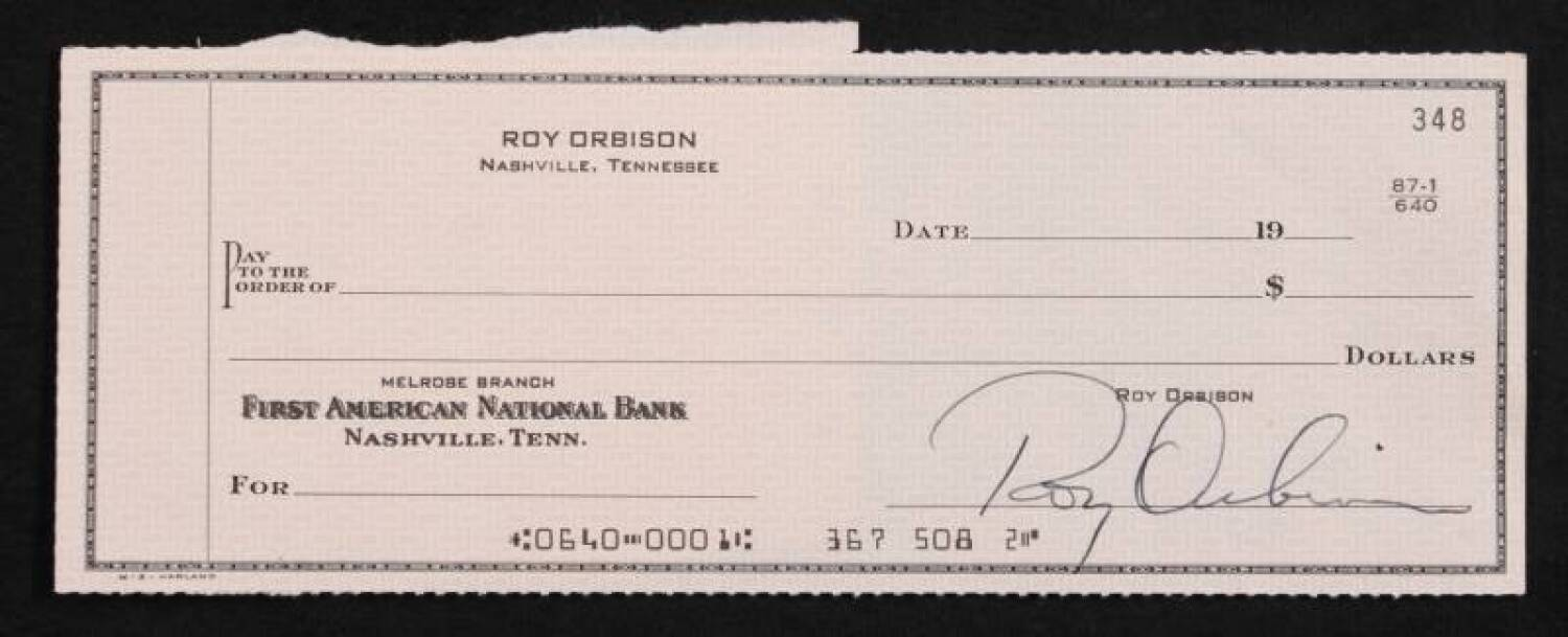 ROY ORBISON SIGNED BLANK CHECK - Current price $300