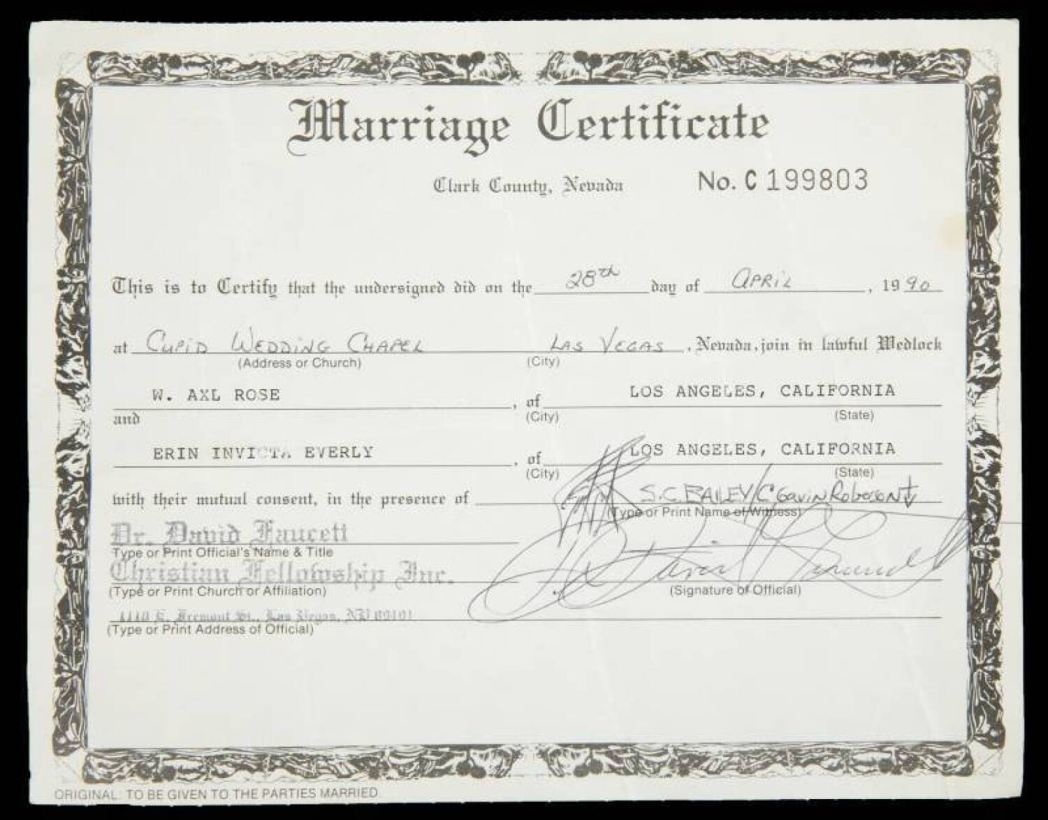 AXL ROSE AND ERIN EVERLY MARRIAGE CERTIFICATE - Current price $3500