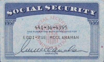 RUE McCLANAHAN SOCIAL SECURITY CARD - Current price: $150