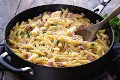 One Pot Ham & Penne Skillet Recipe - Julie's Eats & Treats