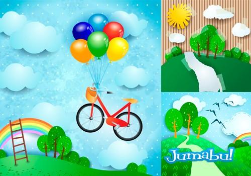 Dibujos infantiles bicicletas nubes rboles en vectores - Imagenes de nubes infantiles ...