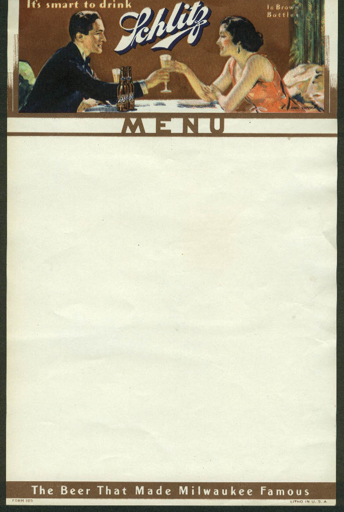 Schlitz Beer That Made Milwuakee Famous blank menu sheet 1950s