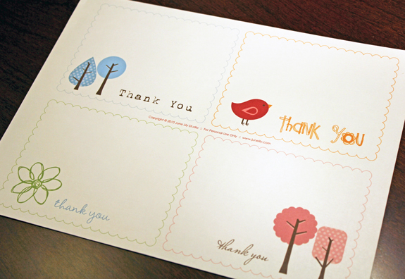 Free Printable Thank You Notes June Lily Design, Illustration - printable thank you note