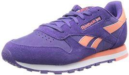 Reebok Women's Classic Leather Suede Classic Shoe, Sport Violet/Coral/White, 10.5 M US $21.00 (reg. $69.99)