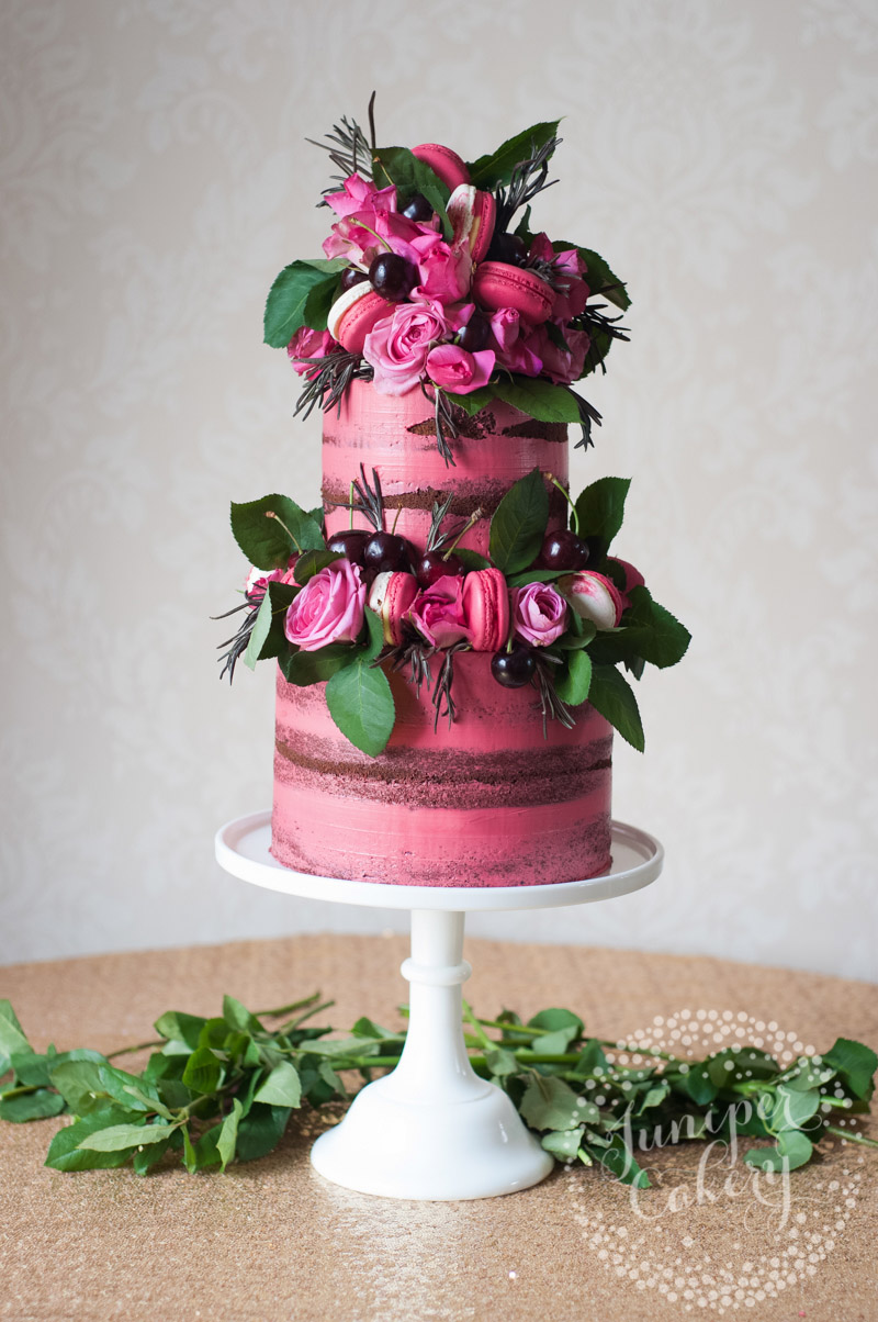 Pink Black Forest Gateau Naked Cake by Juniper Cakery