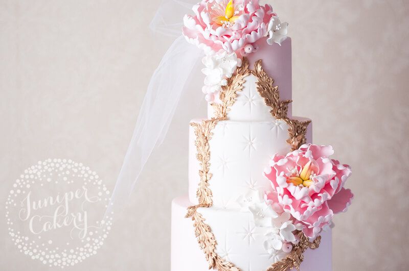 Pink Rococo-inspired wedding cake by Juniper Cakery