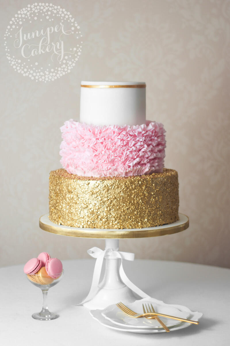 Elegant and fun wedding cake by Juniper Cakery