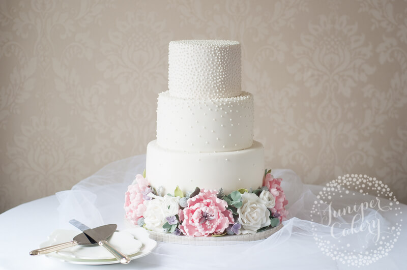 Floral and pearl wedding cake by Juniper Cakery