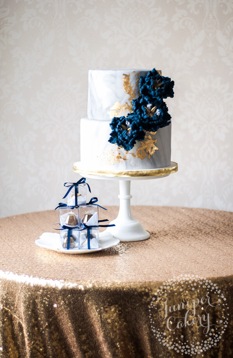 Chic Marbled Gold and Navy Peony Wedding Cake