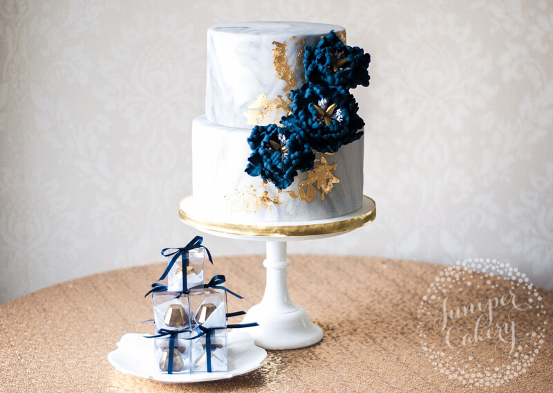Marble Wedding Cake with Gold Leaf and Navy Peonies by Juniper Cakery
