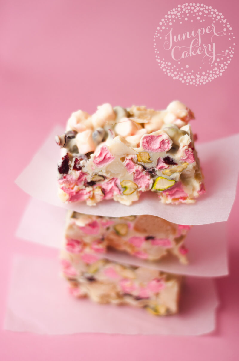 White chocolate, cranberry and pistachio rocky road recipe by Juniper Cakery