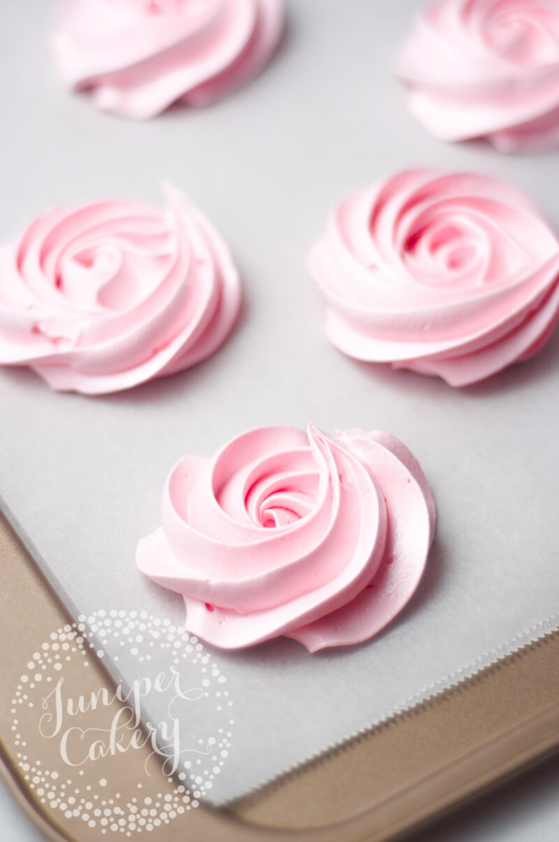 How to make meringue rosettes by Juniper Cakery