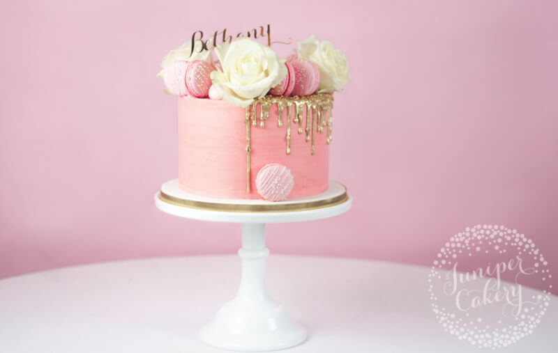 Pretty in pink gold drip birthday cake by Juniper Cakery