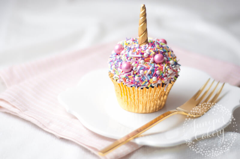 Easy rainbow sprinkle unicorn cupcake tutorial by juniper Cakery