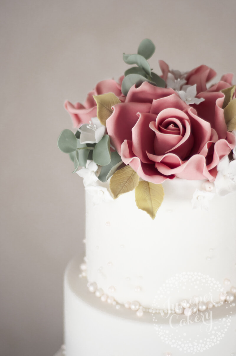 Pearl embellish wedding cake with sugar flowers by Juniper Cakery