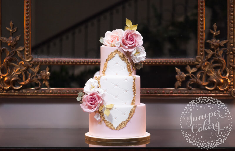 Blush Rose Garden Rococo Wedding Cake at Saltmarshe Hall by Juniper Cakery
