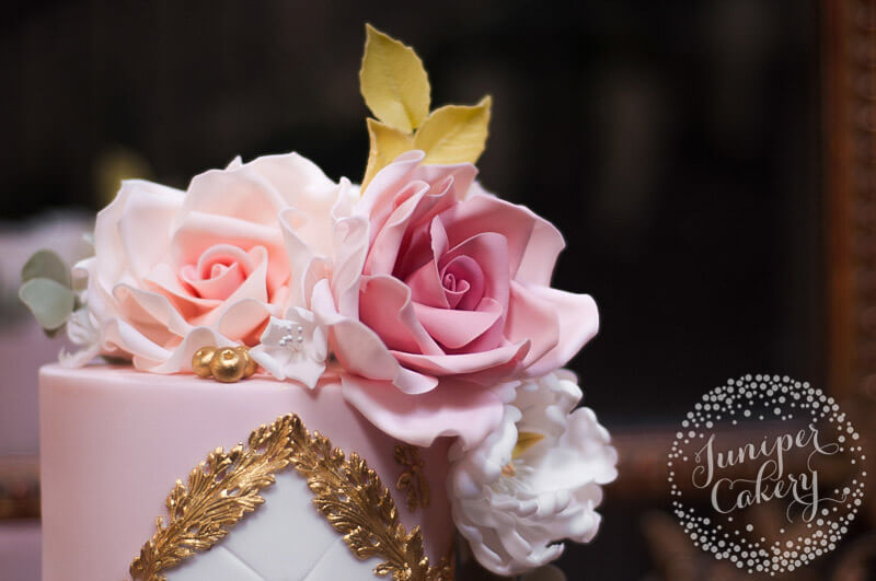 Pretty Blush Rococo Wedding Cake by Juniper Cakery
