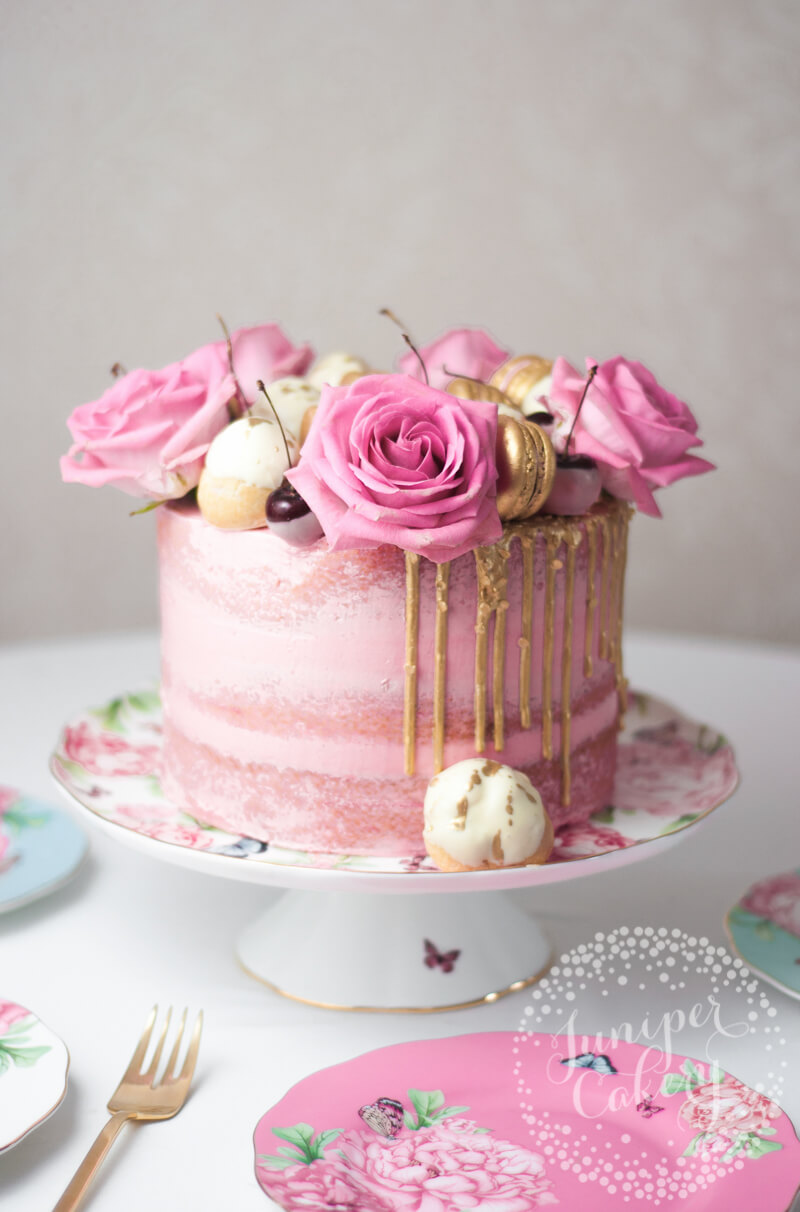 White chocolate and pink cherry cake for Royal Albert