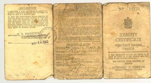 Certificat d'identification du marin Arthur B. Barrie, de la Marine marchande du Canada.