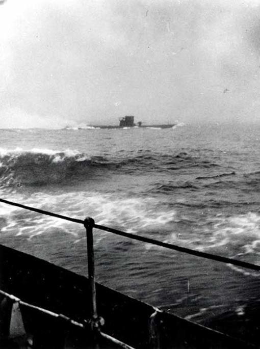 German U-boat U-210 seen from HMCS Assiniboine, 6 August 1942.