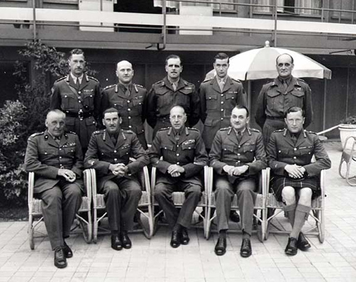 1st Canadian Army generals in Hilversum, the Netherlands, on May 20th, 1945. Sitting, from left to right: Stanislaw Maczek, 1st Polish Armoured Division; Guy Simonds, II Canadian Corps; H.D.G. Crerar, 1st Canadian Army; Charles Foulkes, I Canadian Corps; B.M. Hoffmeister, 5th Armoured Division. Standing, from left to right: R.H. Keefler, 3rd Infantry Division; A.B. Matthews, 2nd Infantry Division; H.W. Foster, 1st Infantry Division; R.W. Moncel, 4th Armoured Brigade; S.B. Rawlins, 49th British Division.