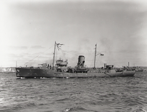 Corvette HMCS Chambly in Halifax, April 1941. Commissioned at Quebec City 18 December 1940, Chambly participated in escort missions and trained other corvettes for the duration of the war.