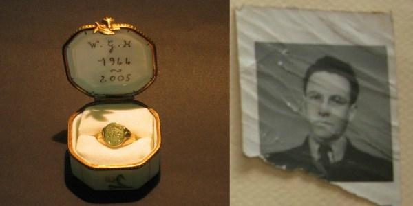R: Sgt. Wilfred Gordon Harris' ring; L: Photo of F/O David Webster Goodwin