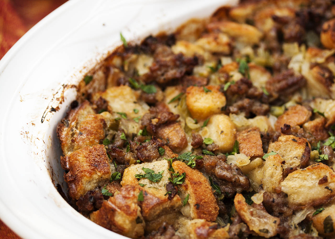 My Favorite Sausage Bread Stuffing - Just a Little Bit of Bacon