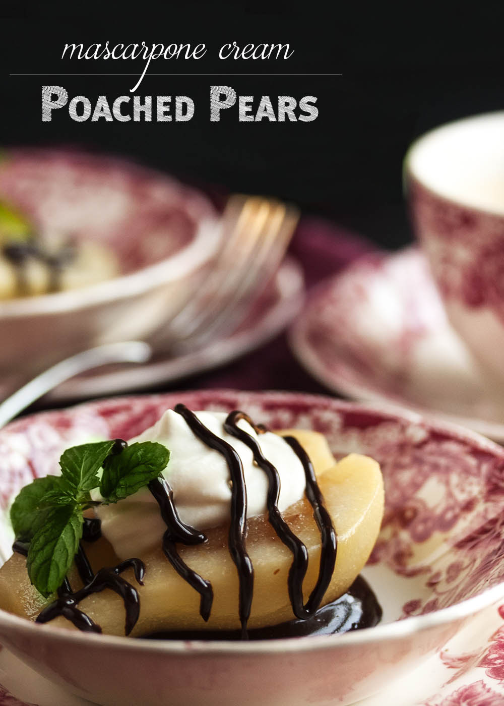 Pears with Mascarpone Cream - These pears are poached in a spiced ...