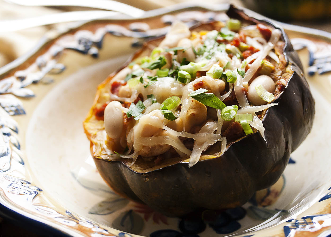 Acorn Squash Stuffed with Chorizo Sausage - Acorn squash is roasted ...