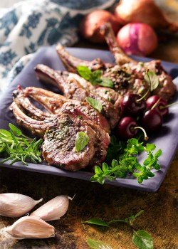 Popular A A Fresh Cherry Port Sauce Just A Little Lamb Ribs Recipe Slow Cooker Lamb Ribs Recipe Grill Lamb Rib Chops Are Coated Garlic Marinade Ngrilled Grilled Lamb Chops