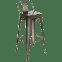 Barstools : Metal Back Galvanized Steel Barstool