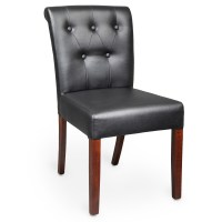 Chairs : Wood Upholstered Pullover Rolled & Tufted Back Chair