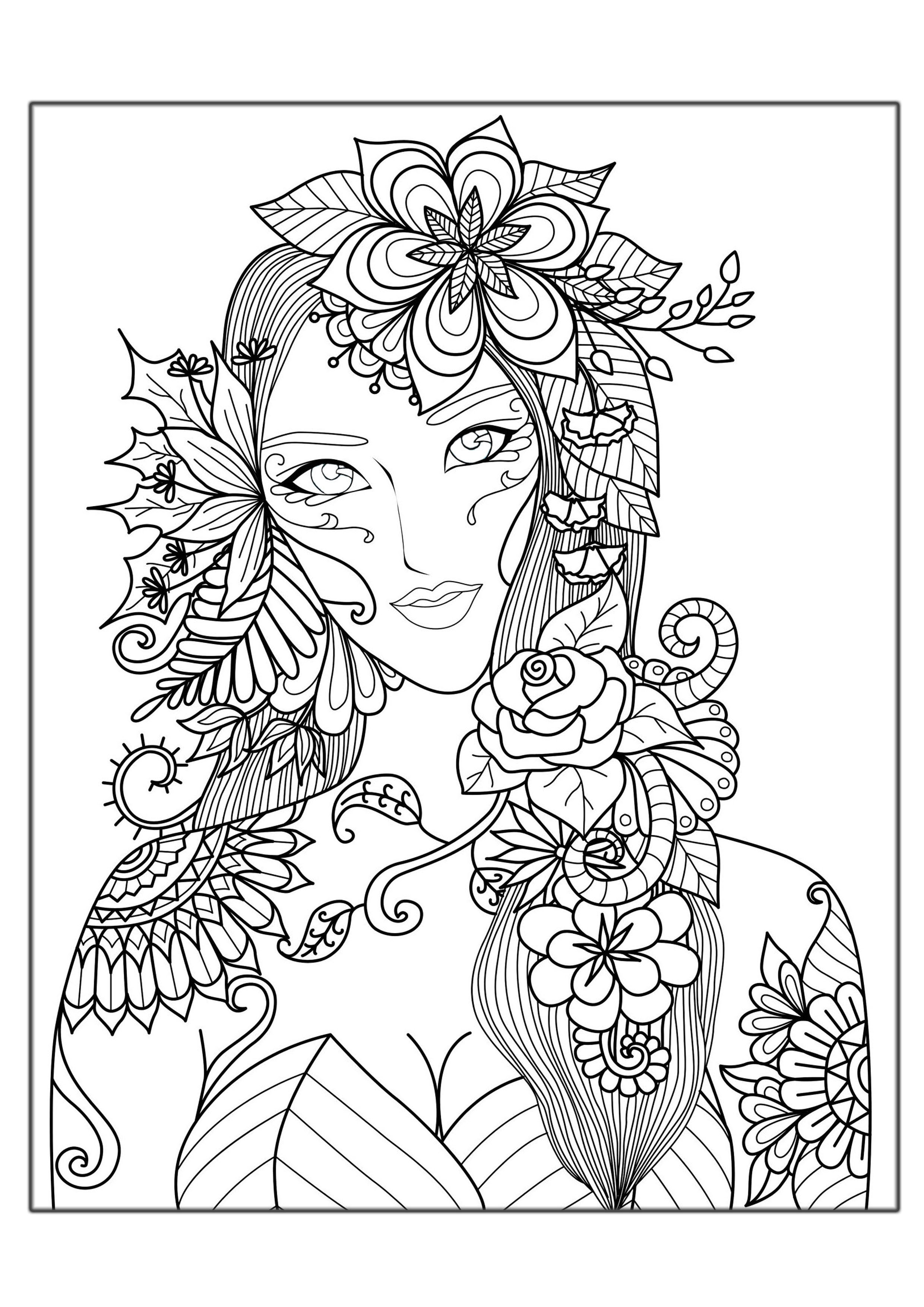 Coloring page adults woman flowers free to print