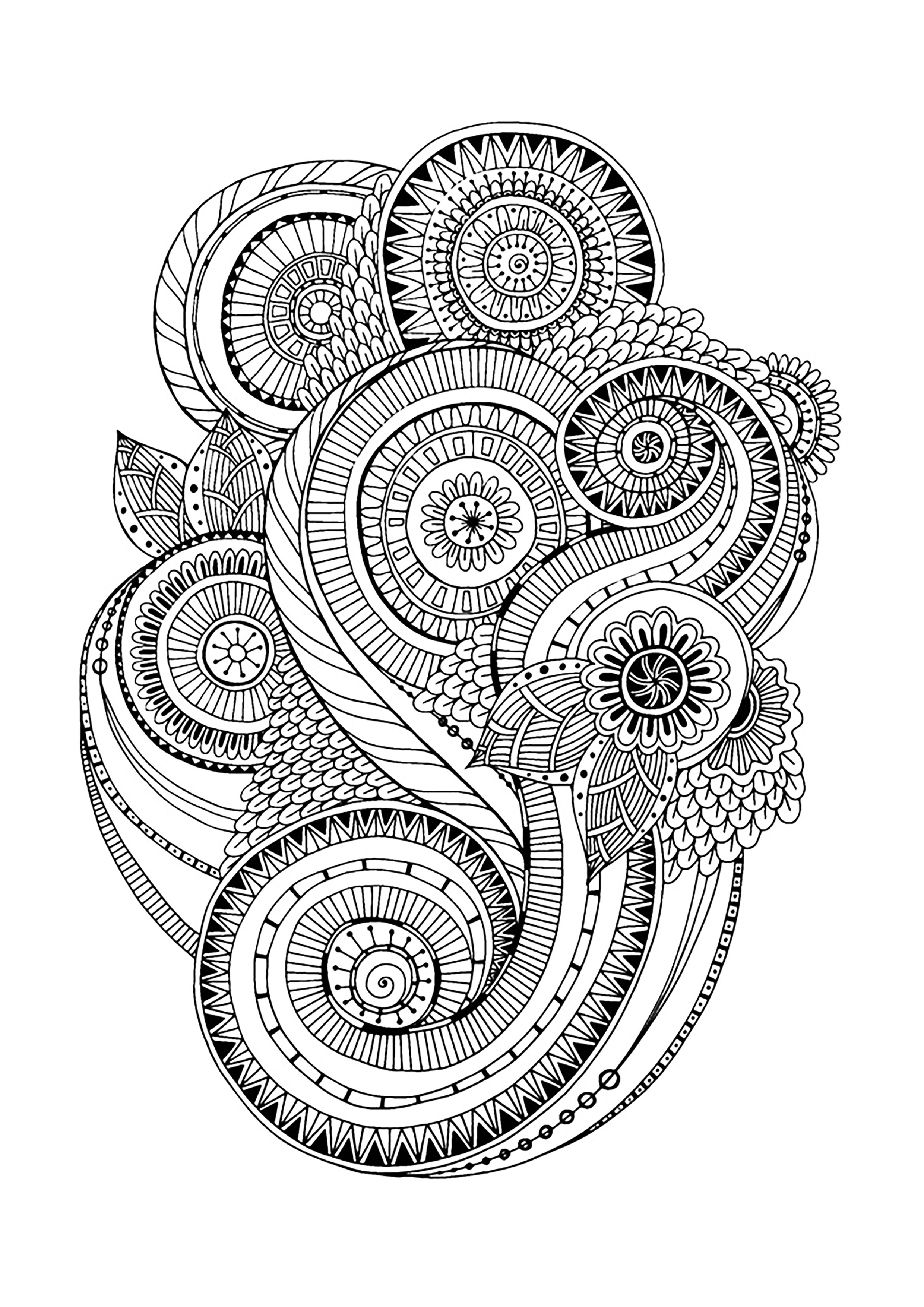Coloring zen antistress abstract pattern inspired by flowers 2 by juliasnegireva