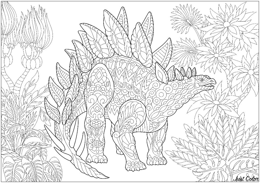 Stegosaurus - Dinosaurs Adult Coloring Pages