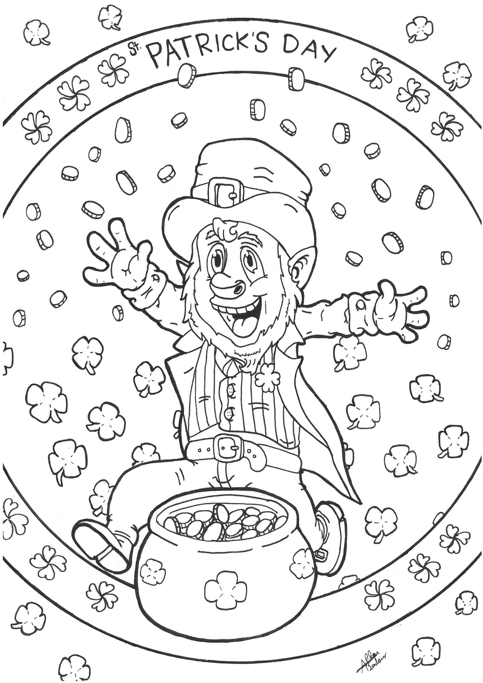 Free coloring page leprechaun