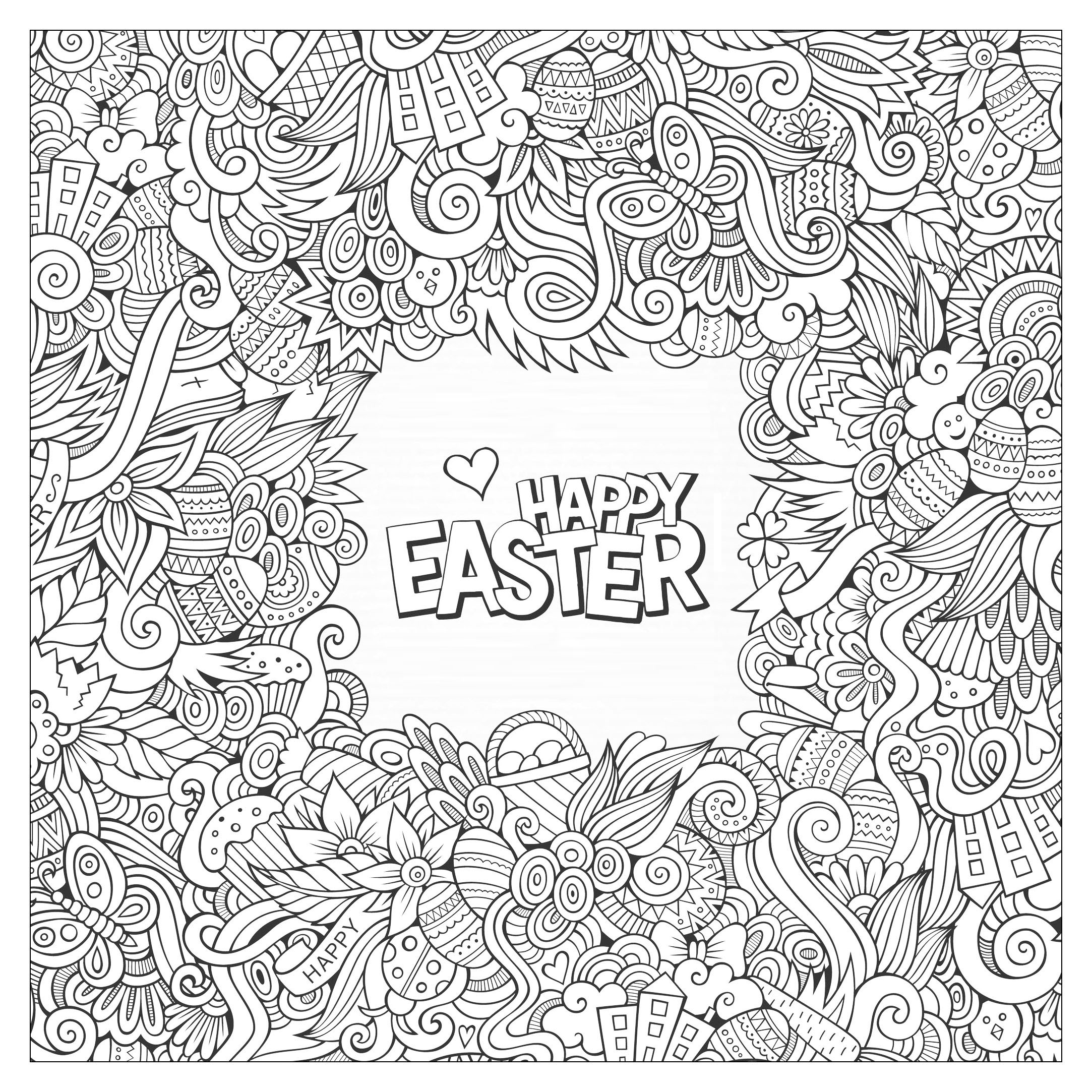 Easter greeting card to print and color for kids and adults from