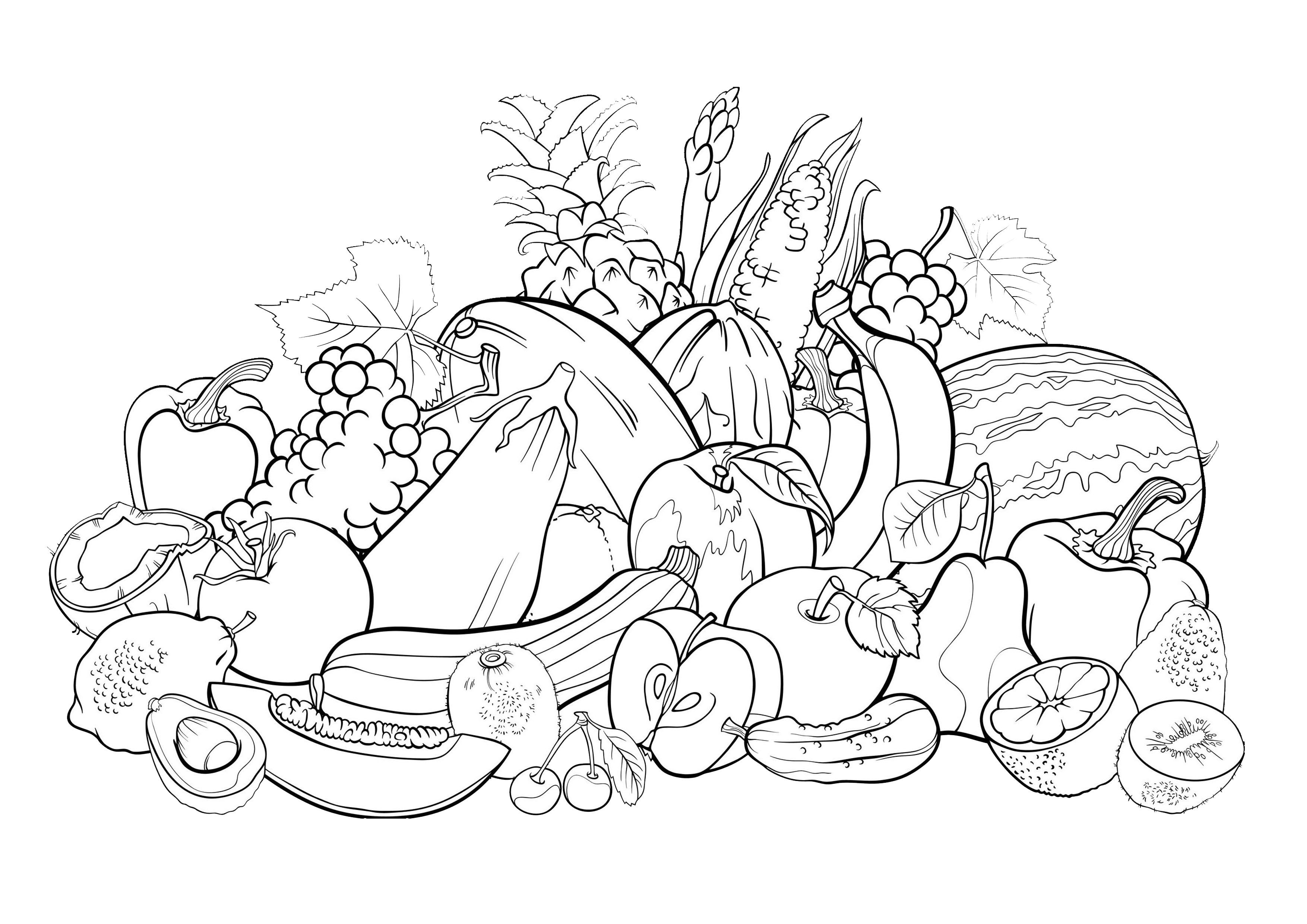 Coloring page of a fruit basket 2 - Download