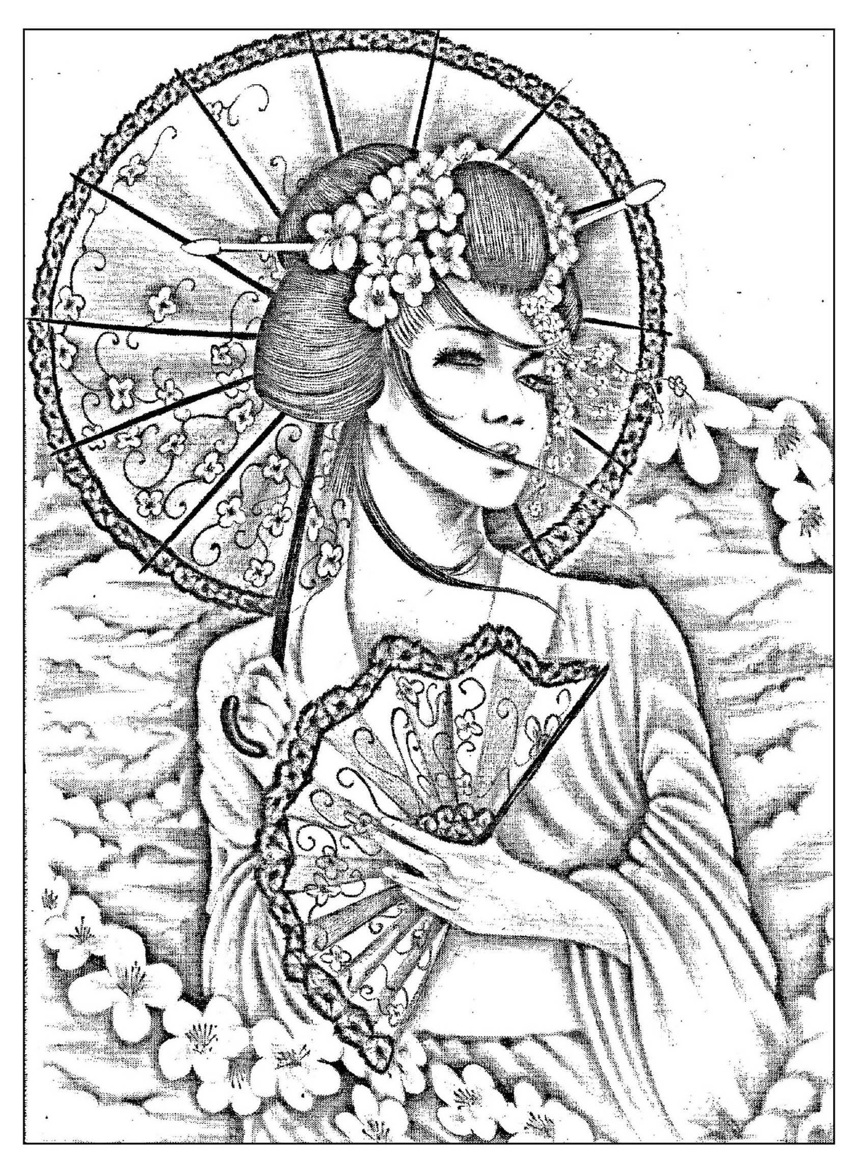 Coloring geisha japan tatoo free to print
