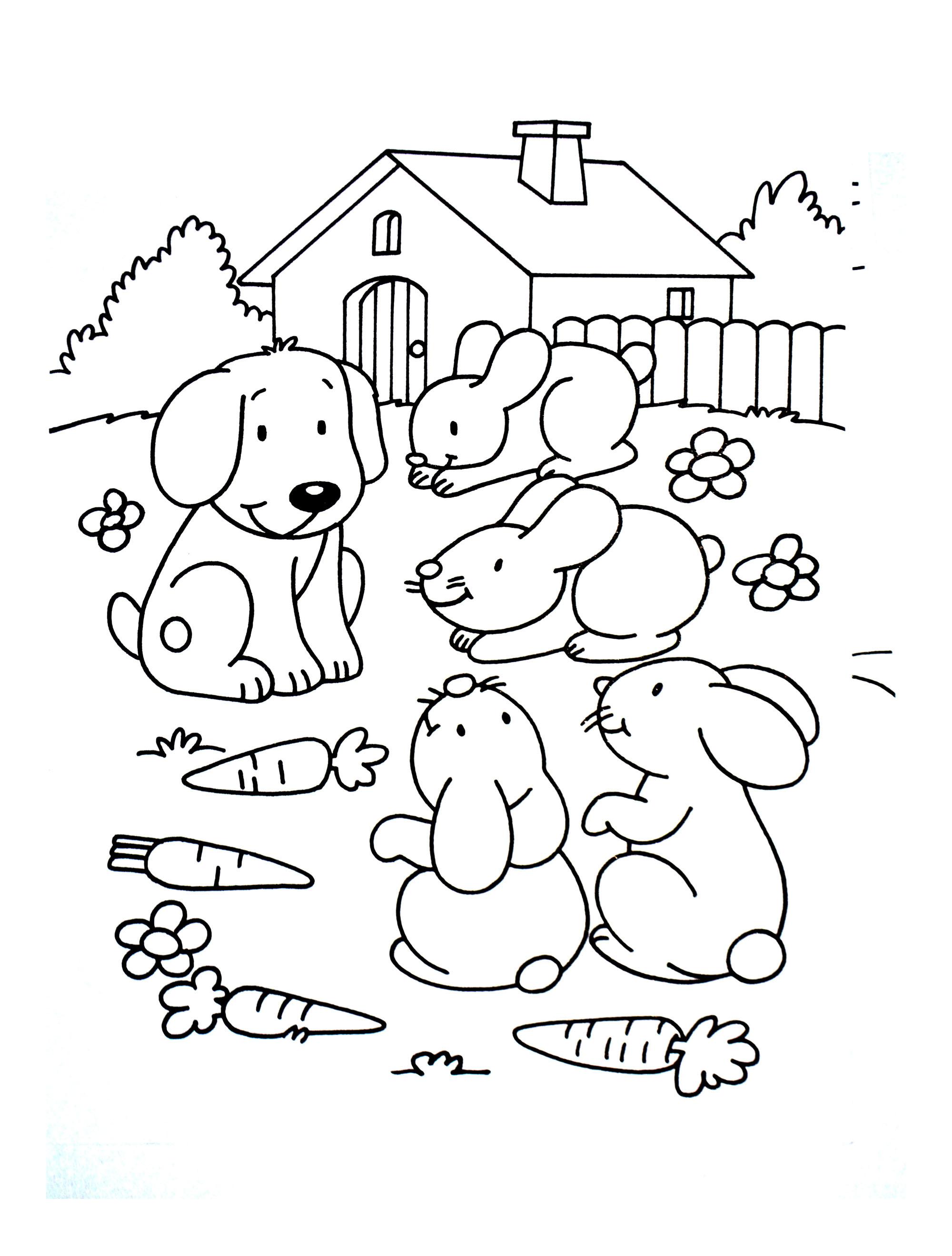 Splendid Rabbit Friends Dog Adults Dog Coloring Sheets Adults Dog Rabbit Friends Animals Adult Coloring Pages Dog Colouring Pages bark post Dog Coloring Pages For Adults