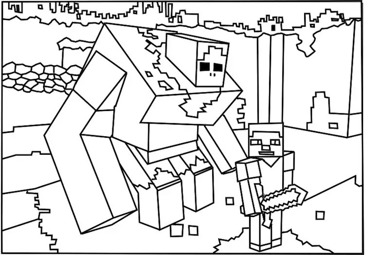 Drawing inspired - Minecraft Coloring pages for kids to print  color