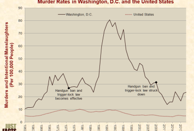 Gun control made no difference to the murder rate in Washington, DC