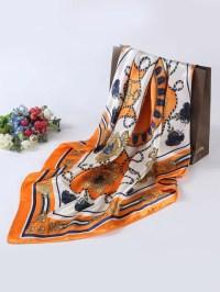 Women Vintage Silk Satin Square Head Scarves ...