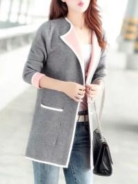 Shawl Collar Long Sleeve Pockets Coat - JustFashionNow.com