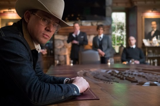 "DF-09632_r - Channing Tatum stars in Twentieth Century Fox's ""Kingsman: The Golden Circle,"" also starring Colin Firth, julianne Moore, Taron Egerton, Mark Strong, Elton John, Halle Berry and Jeff Bridges. Photo Credit: Giles Keyte."