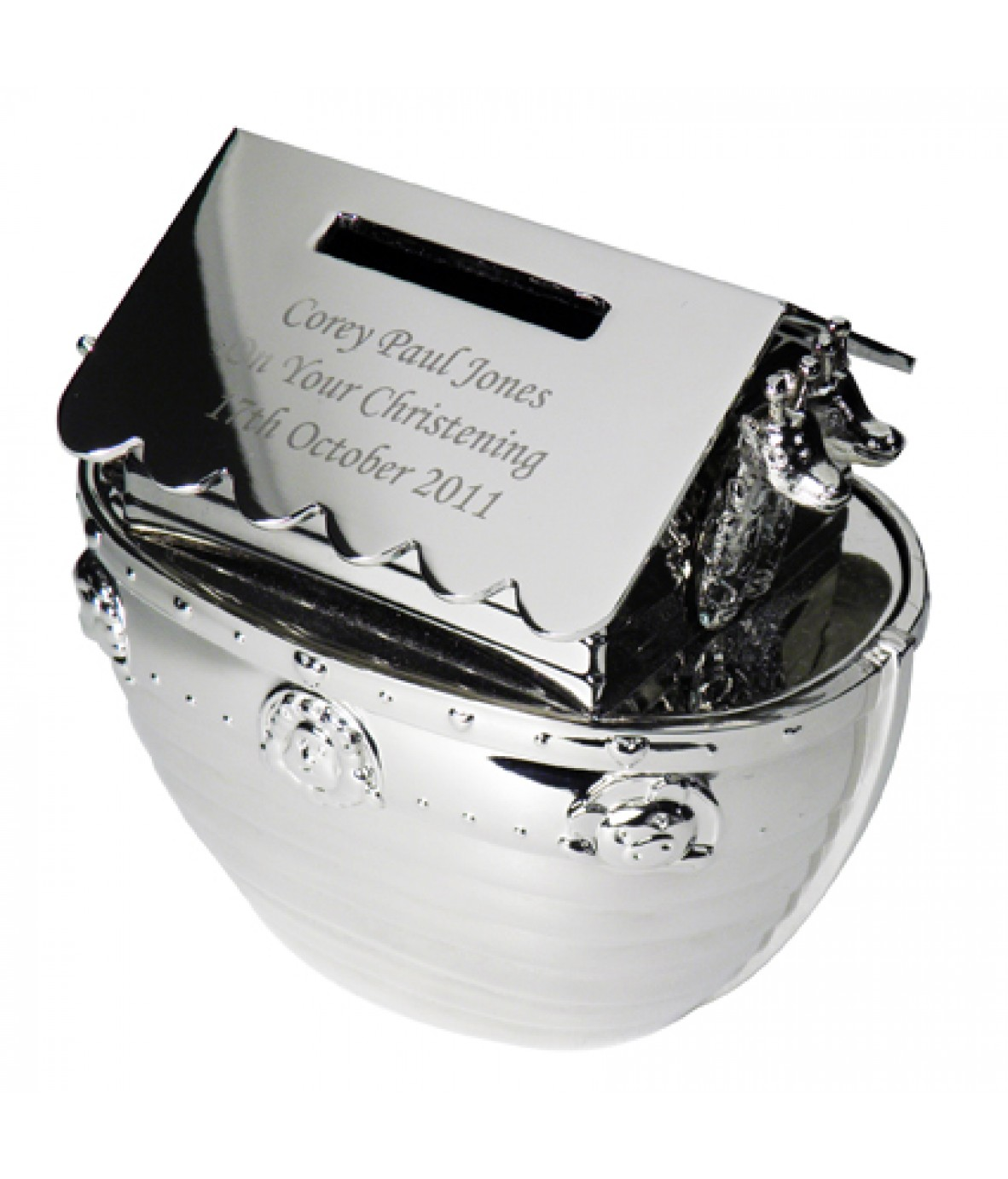 Personalised Silver Noah39s Ark Moneybox Just For Gifts