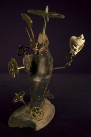 """Found objects (shell, copper wire, wood, & old clock parts) 9"""" x 6"""" x 4"""" - 2008"""